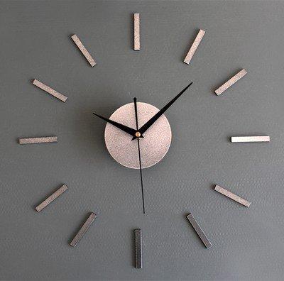 Komo DIY-Stummschaltung an der Wand montierten Uhren Mode kreativ Stereo Mix clock Selbstklebende Uhr personalisierte minimalistischen Wohnzimmer Wanduhr, 16 cm, Silber