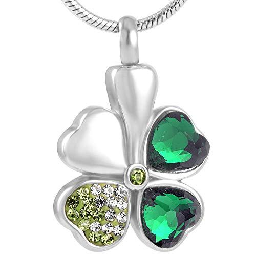 OPPJB Collares para Mujerdiseño Elegante Collar De Acero Inoxidable Cristal Verde Trébol De Cuatro Hojas Colgante Collar De Cremación Mujeres Charm-A