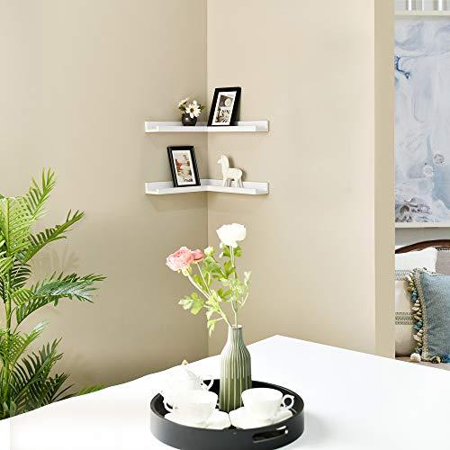WELLAND Corner Picture Ledge Set of 2, White Photo Ledge, Corner Floating Shelves for Bedroom, Living Room, Study Room and Kitchen