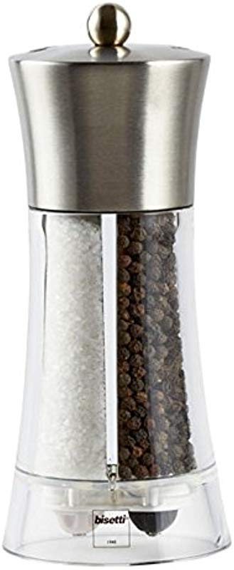Bisetti Acrylic Stainless Steel Salt And Pepper Mill 7 5 Grey