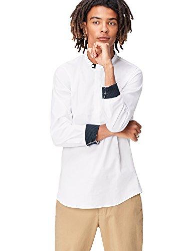 Marchio Amazon - find. Camicia con Colletto Serafino Regular Fit Uomo, Bianco (White), XL, Label: XL
