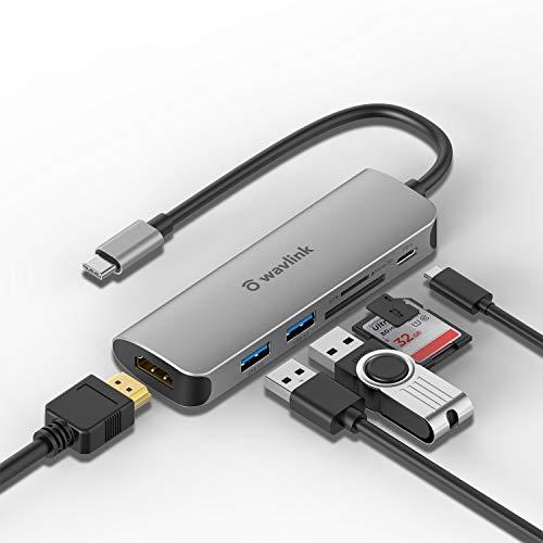 WAVLINK USB C Hub, adaptador 6 em 1 tipo C Mini Docking Station com 4K HDMI, 2 portas USB 3.0, leitor de cartão SD/TF para dispositivos iPad Pro/MacBook/tipo C