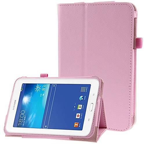 JIANGHONGYAN Funda de Cuero con Tapa de Textura de Litchi para Samsung Galaxy Tab 3 Lite T110 / T111 (Color : Rosado)