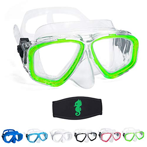 OMGear Boy Girl Swim Pool Goggles with Nose Cover Snorkeling Kit Kids Snorkel Dive Mask Scuba Goggles for Water Sports Outdoors(Green)