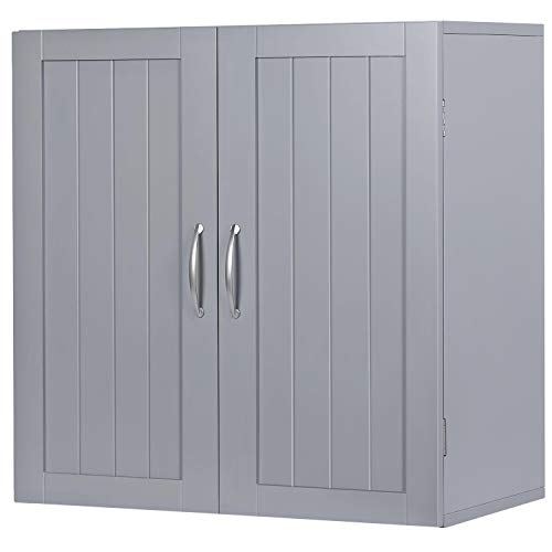 YAHEETECH Kitchen Bathroom Wall Cabinet, Garage/Laundry Wall Storage Organizer with Inner Adjustable Shelf
