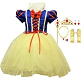 LOBTY Blancanieves Disfraz Carnaval Traje de Princesa para Halloween Navidad Fiesta Cosplay Costume para Niñas Chicas Niñas Princesa Nieve Traje Blanco Disfraces Hadas disfrazarse Vestido de Cosplay