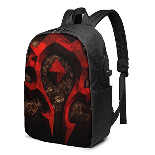 World Horde Laptop Backpack- with USB Charging Port/Stylish Casual Waterproof Backpacks Fits Most Laptops and Tablets
