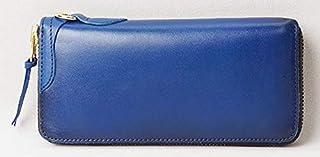 [ハンドメイド] HAND MADE ラウンドファスナー長財布 ブルー こがし加工 ヌメ革 HM-11