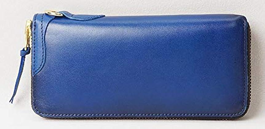 関係ないミュージカルトレーダー[ハンドメイド] HAND MADE ラウンドファスナー長財布 ブルー こがし加工 ヌメ革 HM-11