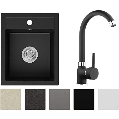 Spülbecken Schwarz 40 x 50 cm, Granitspüle + Küchenarmatur + Siphon, Küchenspüle ab 40er Unterschrank in 5 Farben mit Armatur Varianten, Einbauspüle von Primagran