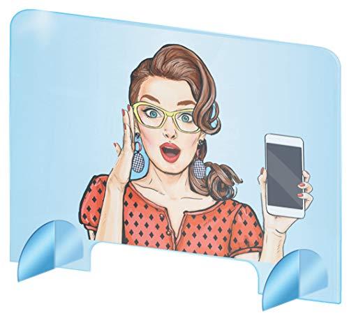 Pantalla protectora de plexiglás para escritorio - Protección contra estornudos para mostrador - Pantalla de plexiglás acrílico transparente - Separador de escritorio (50x50 cm)