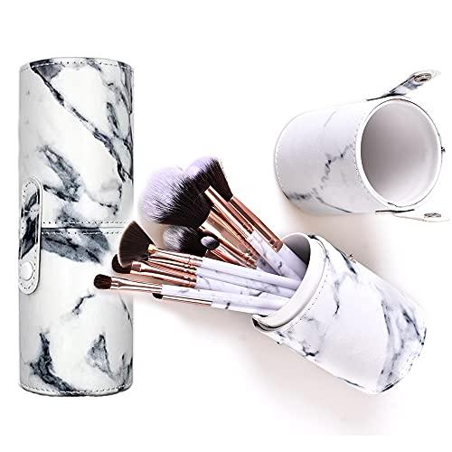 Make-up-Pinsel-Set mit Halteretui NEVSETPO Premium Synthetic Kabuki Vollgesichts-Make-up-Pinsel mit Organizer-Rollenetui-Halter (15 St¡§1ck, Marmorwei)