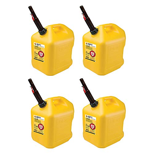 Midwest Can Company 8610 EPA & CARB Compliant 5 Gallon Diesel Can Fuel Container with Flame Shield Safety System and Auto Shut Off (4 Pack)