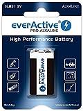 everActive 9V Baterías 10 Unidades, Pro Alkaline, Block 6LR61 6F22, máxima Potencia, 5 años de Durabilidad, 10 blíster