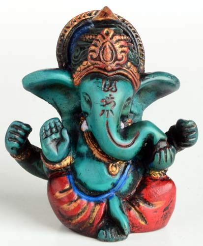 BUDDHAFIGUREN/Billy Held Statue Ganesha, Resin, Türkis, 6,5 cm