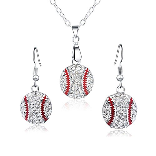 Baseball Pendant Necklace & Dangle Earrings Jewelry Set Sport Clear Crystal Fashion Jewelry (Silver earrings+necklace)