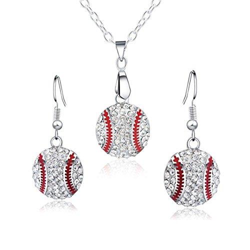 Baseball-Anhänger Halskette & baumelnde Ohrringe Schmuckset Sport klar Kristall Modeschmuck Silver Earrings+necklace