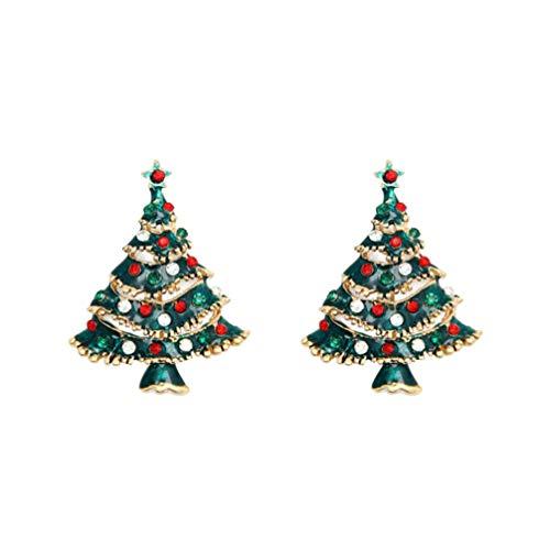 Amosfun Spilla di Natale 2pcs Spilla di Strass Vintage Spilla di Cristallo Albero di Natale Spilla