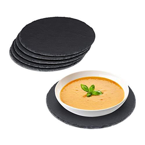 Relaxdays Schieferplatte 6er Set rund, 25cm Ø, Pizzateller zum Servieren & Beschriften, Buffet, Servierplatte, anthrazit