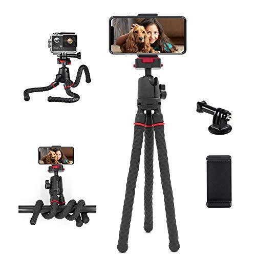 Handy Stativ, iPhone Stativ Flexible Mini Kamerastativ mit Fernauslöser Klein Tischstativ Klemme Oktopus Fotostativ für Smartphone und Kamera