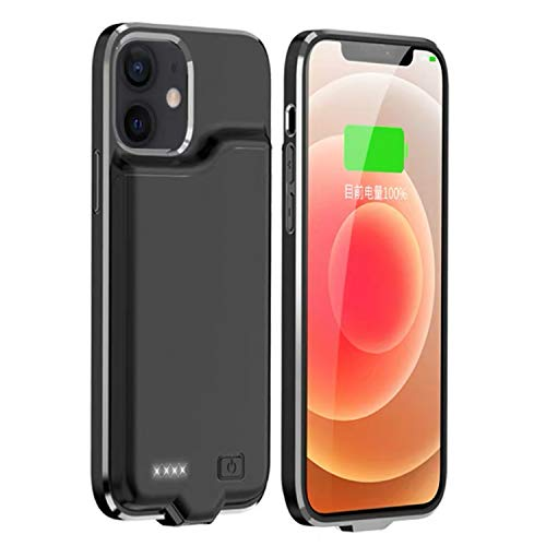 """KERTER Battery Case for iPhone 12 Mini 5G [5.4""""], 5200mAh Rechargeable Charging Case Support Audio Extended Battery Pack Protective Backup Charger Case Portable Power Bank Case - Black"""