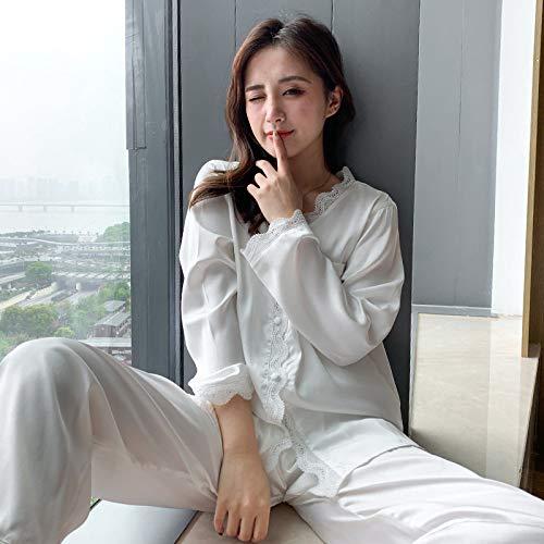 WSKWEIJ Conjunto De Pijama,Blanco Ik Ike Woen Pajaa Et Autun Ong Eeve Eepwear Paace Tye Pijama Y Back Beautifu Hoe Nightgown Uit,