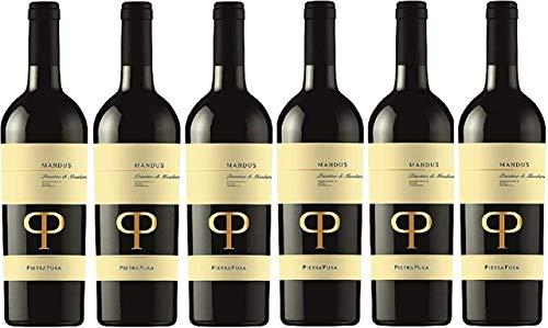 6 er Mandus Primitivo di Manduria DOC 2019 | Pietra Pura | Rotwein aus Apulien | trocken | 6 x 0,75l | mit Drop Stop Weinausgießer fabelhafte-geschenke