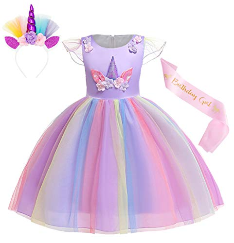 Cotrio Unicorn Costume Flower Girls Pageant Princess Party Dress with Headband 3-Pieces Rainbow Colourful Tutu for Birthday Halloween (4T, 3-4Years, Purple, 110)