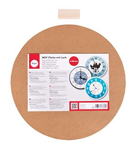 RAYHER 62423000 MDF Platte mit Loch Durchmesser 1,1 cm, 30 cm Durchmesser, 2-teilig für Uhrwerk Art 89 301 00