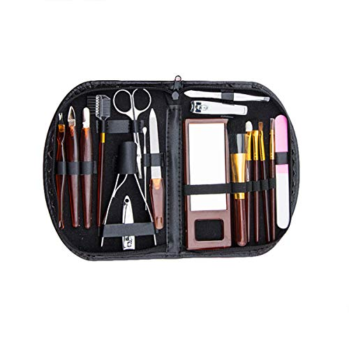 Yuehuam Ensemble de Manucure 18 Pcs Maquillage Nail Clipper Kit Cuticule Poussoir Sourcils Ciseaux Pinceaux de Maquillage Miroir Earpick Ensemble de Soins Professionnels pour Le Voyage à Domicile