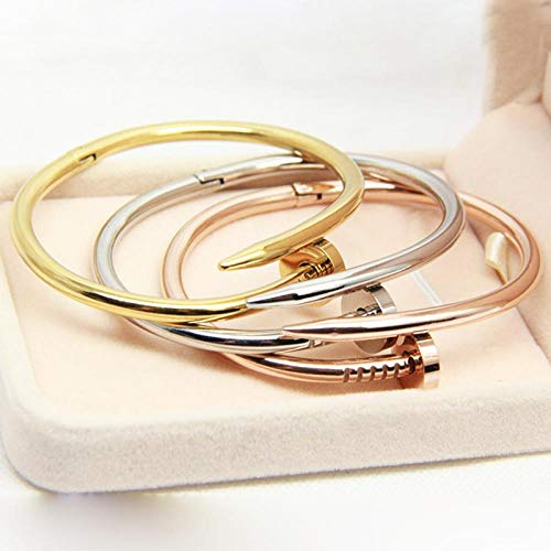 APPWLING Cuff Nail Bracelets & Bangles Stainless Steel Jewelry Brand Love Bangle Nail Screw Bracelet for Women and Man @Woman_Rose_Gold