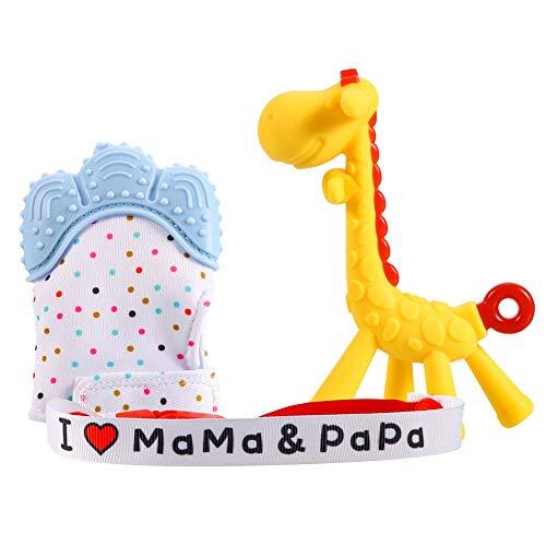 SUSSURRO Beissring Giraffe für Baby Baby Teething Mitten Soothing Infant Mitt Spielzeug Zahnungshilfe BPA Frei Weich mit Schnuller Kette Baby-Beißringspielzeug,3 Pack