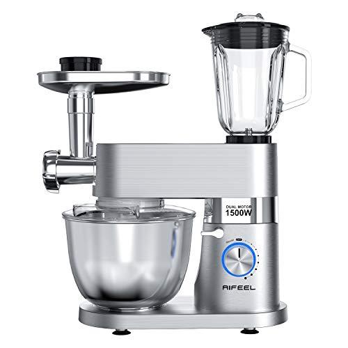 Aifeel Hochwertiger Küchenmaschine 1500W 9 Zubehör Multifunktionaler Küchenmixer mit 5,5 l Schüssel, Teighaken, Schneebesen, Schläger, Entsafter-Mixer, Fleischwolf, Aufschnittmaschine, 59dB-Silber