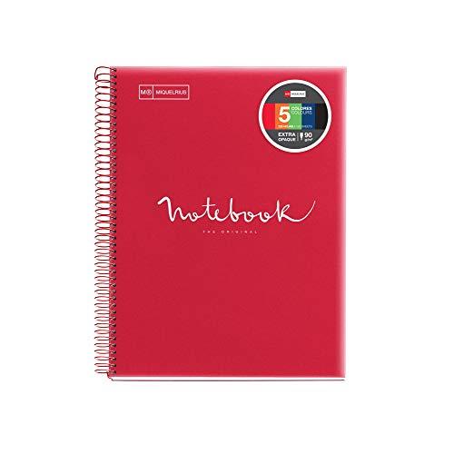 Miquelrius - Cuaderno Espiral Microperforado, Cubierta Polipropileno Translúcido, Tamaño A5 148 x 210 mm, 2 Taladros, 120 Hojas de 90 g/m² y 5 Franjas de Color, Cuadrícula de 5 x 5 mm, color Rojo