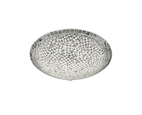 Trio Leuchten LED Deckenleuchte 673012489 Mosaique, Glas silberfarbig/verspiegel, inkl. 24 Watt LED, Switch Dimmer