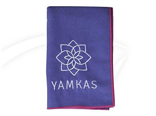 Yamkas Toalla Yoga Antideslizante • Microfibra • 183 x 61 cm • Absorvente del Sudor • Secado rápido • Compacta Towel para Esterilla Deporte • Violeta