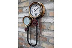 Casadomu Steampunk Clock Industrial Pipe Wall Hanging Large Antique Style Decor Timepiece #3