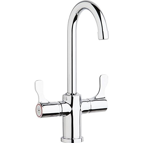 Elkay LKD208813C Deck Mount Faucet with Gooseneck Spout and Twin Lever Handles