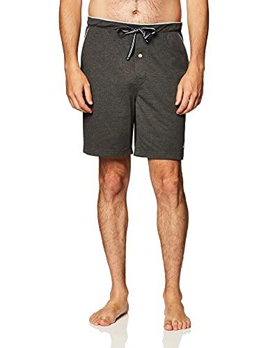 Nautica Men's Soft Knit Elastic Waistband Sleep Lounge Short, Charcoal Heather, Medium