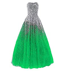 Green Long with Rhinestones Evening Pageant Gown