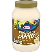 KRAFT Avocado Oil Mayonnaise, 30 oz. Jar | Reduced Fat Avocado Mayonnaise with Resealable Lid | Healthy Mayo & Alternative Mayo | Lunch Bag Sandwiches Essential Ingredient