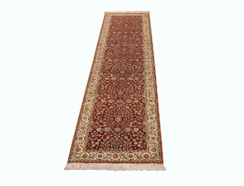 Unbekannt Klassischer handgeknüpfter Orient Teppich Hereke Seide aus China Läufer 305 x 76 cm