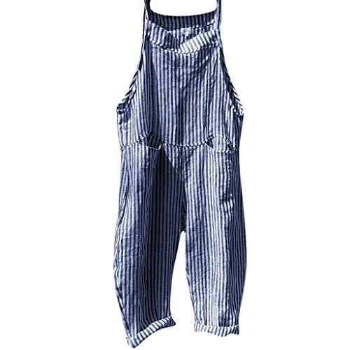 Zimuuy Damen Jumpsuit Overalls, Frauen Verband Streifen Latzhosen Mode Bodysuit Spielanzug (XL, Blau)