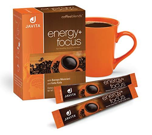 Energy + Focus Coffee - Premium, Gourmet,100% South American Blend, Arabica, Robusta - w/Herbs for Memory, Clarity, Energy, & Focus - Bacopa, Gotu Kola, Made in USA, Javita 24 ct