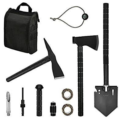 iunio Survival Off-Roading Tool Kit, Folding Shovel, Camping Axe, Multitool, Pickaxe, with Carrying Bag, for Outdoor, Car Emergency (Upgrade Black)