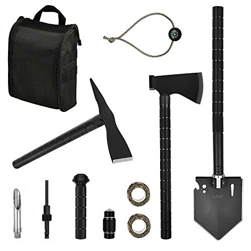 iunio Survival OffRoading Tool Kit Folding Shovel Camping Axe Multitool Pickaxe with Carrying Bag for Outdoor Car Emergency Upgrade Black
