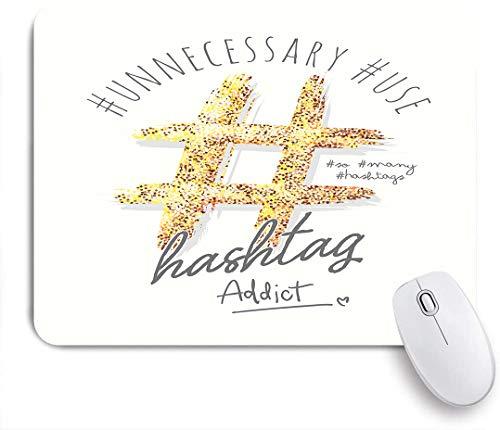 Dekoratives Gaming-Mauspad,Hashtag Typografie Slogan mit Glitzer für fashion,Bürocomputer-Mausmatte mit rutschfester Gummibasis