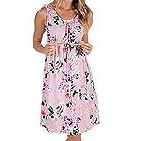 Damen 2in1 Umstands gerafften Stillkleid Doppelschicht 3/4 Umstandsmode Kleid Schwanger Schwangerschaft Kleid Blumendruck Mutterschaft Kleid