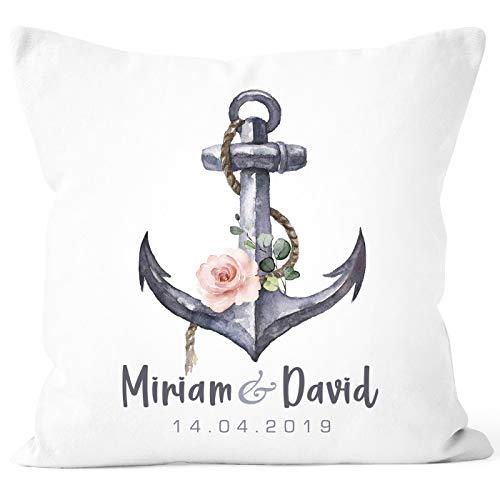 SpecialMe® personalisierbare Kissen-Hülle zur Hochzeit Anker Blumen mit Namen und Datum Hochzeitsgeschenk weiß Unisize