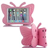 Simicoo iPad 7 8 10.2 3D Cute Butterfly Case for Kids Light Weight EVA Stand Shockproof Rugged Heavy Duty Kids Friendly iPad Cover for Kids iPad 10.2 iPad 7th 8th (Pink)